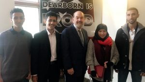 Fordson Key Club students photographed with Mayor O'Reilly