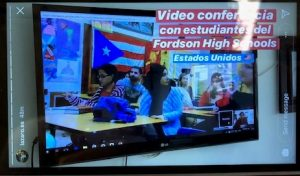 Class shown in video screen.