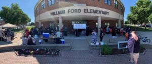 William Ford Elementary School with tables and reading stations set up.