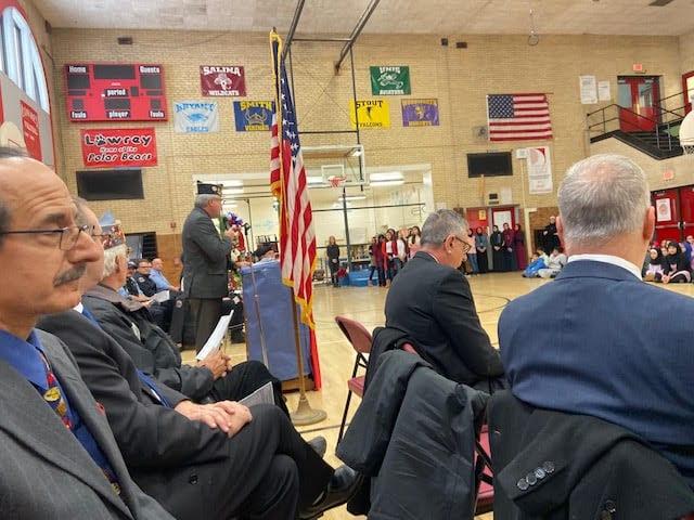 Senior Vice Commander speaks to students.